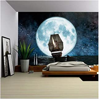 wall26 - Moon, Boat and Reflection in The Water - Removable Wall Mural   Self-Adhesive Large Wallpaper - 66x96 inches
