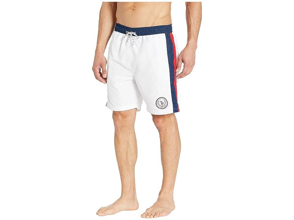 U.S. POLO ASSN. Side Stripe Swim Shorts (White) Men