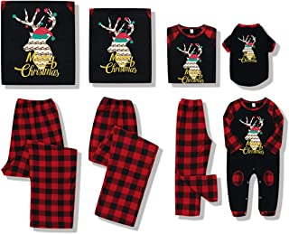 DaMohony Christmas Family Matching Clothes Set, Reindeer Plaid Pajamas Outfits for Pet Baby Kid Mom Dad