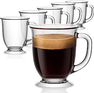 لیوان قهوه شیشه ای 6 تایی ، لیوان قهوه Vivimee Clear 15 Oz ، لیوان شیشه ای بزرگ دارای دسته برای نوشیدنی های گرم ، لیوان پاک کننده چای ، کاپوچینو ، لاته ، قهوه اکسپرسو ، آب میوه ، فنجان قهوه شیشه ای