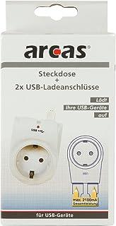Arcas 94710006- Conector Doble (2Conectores de Carga USB, 2100W, protección Infantil), Color Blanco