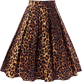 Women's Vintage Flared High Waist A Line Pleated Midi Skirt with Pockets