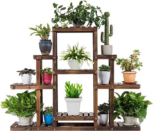 "Giantex Flower Rack Wood Plant Stand Wood Shelves Bonsai Display Shelf Indoor Outdoor Yard Garden Patio Multifunctional Storage Rack Bookshelf W/Hollow-Out Rack (47.5""Lx 10''Wx 38''H (6 Tier))"