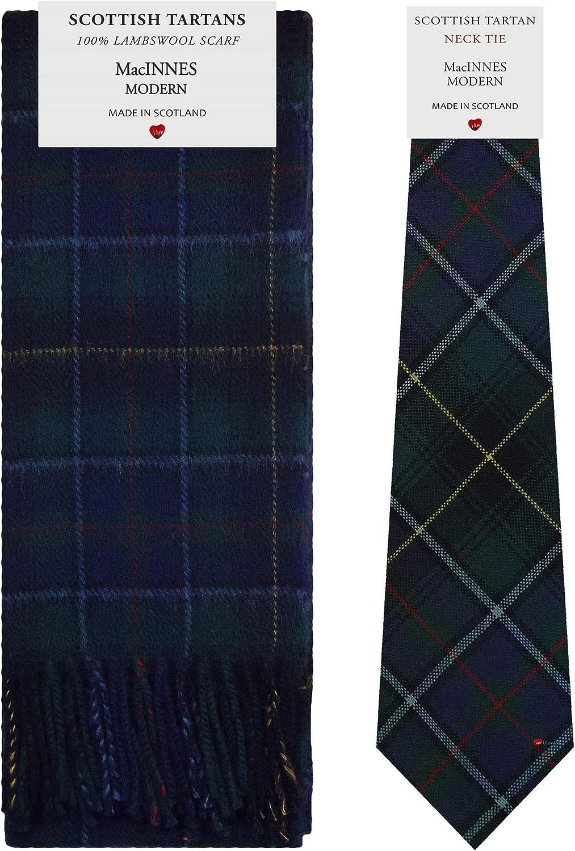 MacInnes Modern Tartan Plaid 100% Lambswool Scarf & Tie Gift Set
