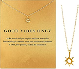 Clavicle Necklace with Blessing Gift Card, Small Dainty Gold Sun God Light with Rope Pendant Chain, Classy Costume Choker Jewelry Favors