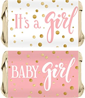 Pink and Gold It's a Girl Baby Shower Favor Miniatures Candy Bar Wrapper Stickers - 45 Count