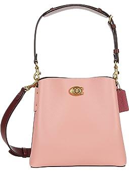 코치 버킷백 COACH Color-Block Leather Willow Bucket,Candy Pink Multi