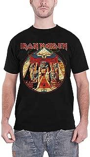 Iron Maiden T Shirt Powerslave Lightning Circle Band Logo Official Mens Black