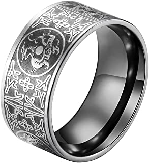 ALEXTINA Men's Stainless Steel Ring Chinese Ancient 4 Guardian Beast Dragon Tiger Amulet Band Calm Anxiety Stress Relieving
