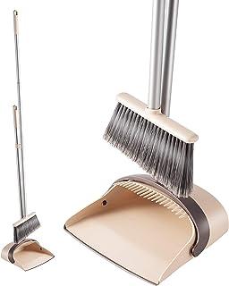 Eyliden. ほうき ちりとり 掃除セット 自立式 収納に便利 掃除道具 長柄 長さ調整可 94cm-135cm 室内 玄関 ホーム 美容室 ショップ最適 (ベージュ)