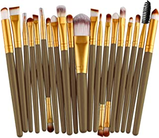 NICEMOVIC 20 Pcs Makeup Brush Set, Powder Foundation Eyeshadow Eyeliner Lip Cosmetic Brushes Make-up Toiletry Kit it(Grey...