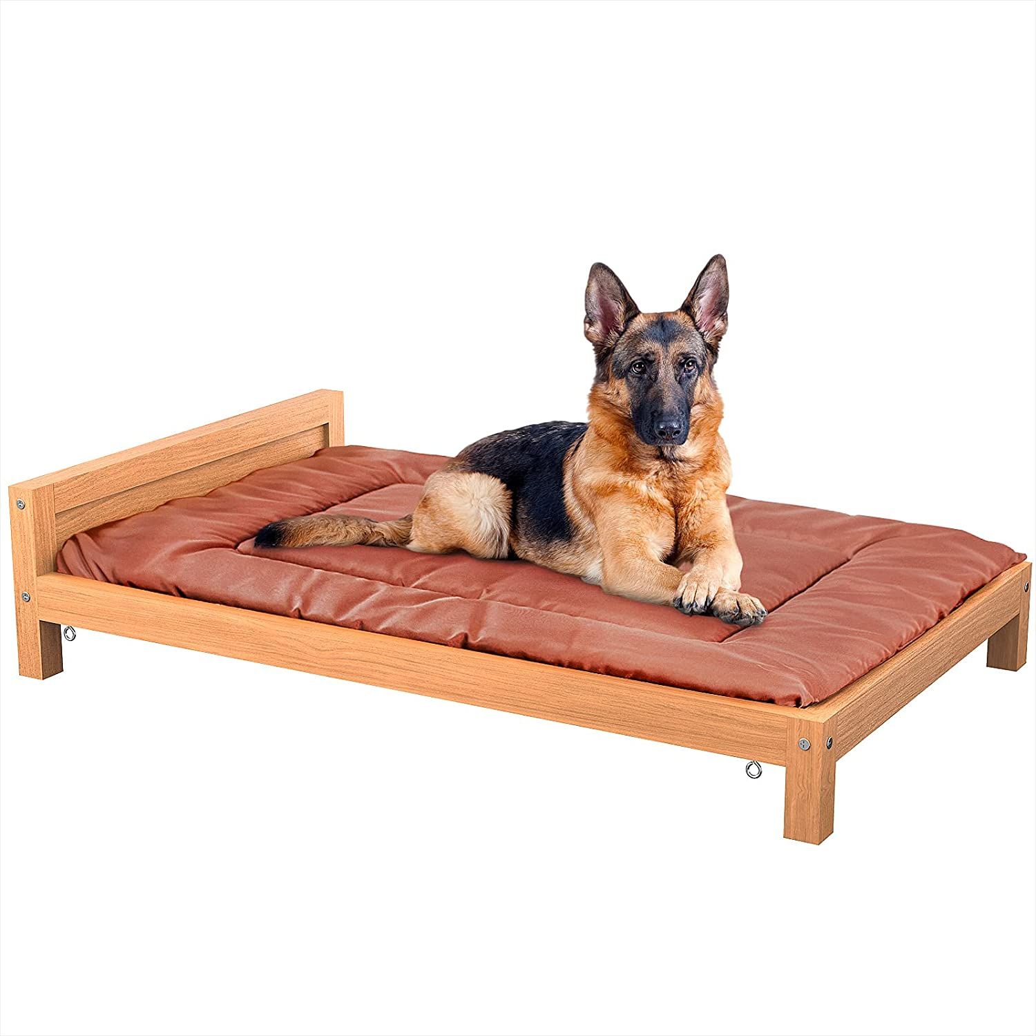 Homykic Dog Bed, Elevated Fir Wood Dog Bed Raised Pet Bed Furniture with Removable Washable Cushion for Large Medium Small Dogs, Cat, L/M/S Size, Brown
