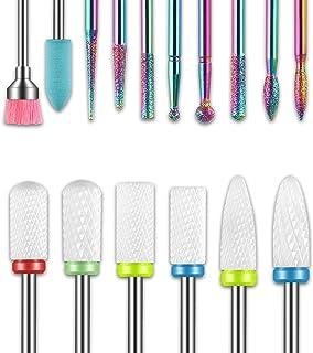 16pcs Nail Drill Bits Sets, 3/32 Inch Diamond Cuticle Electric Nail File and Ceramic Acrylic Gel Nail Bit Kit, Acrylic Nai...