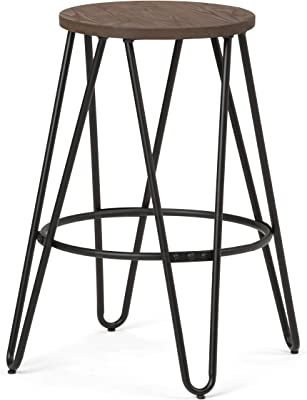 SIMPLIHOME Simeon 24 inch Counter Height Stool, Cocoa Brown and Black Metal and Elm Wood, Round, Backless, for the Kitchen and Dining Room, Industrial