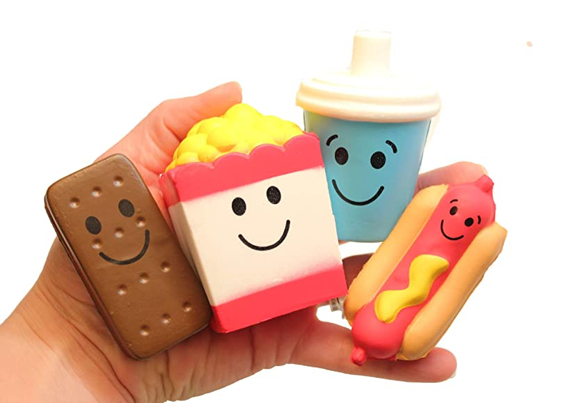 Set of 4 Cute Movie Theater Food Snacks Squishy Slow Rise Foam Characters - Drink, Popcorn, Hot Dog and Ice Cream Sandwich Scented Sensory, Stress, Fidget Toy