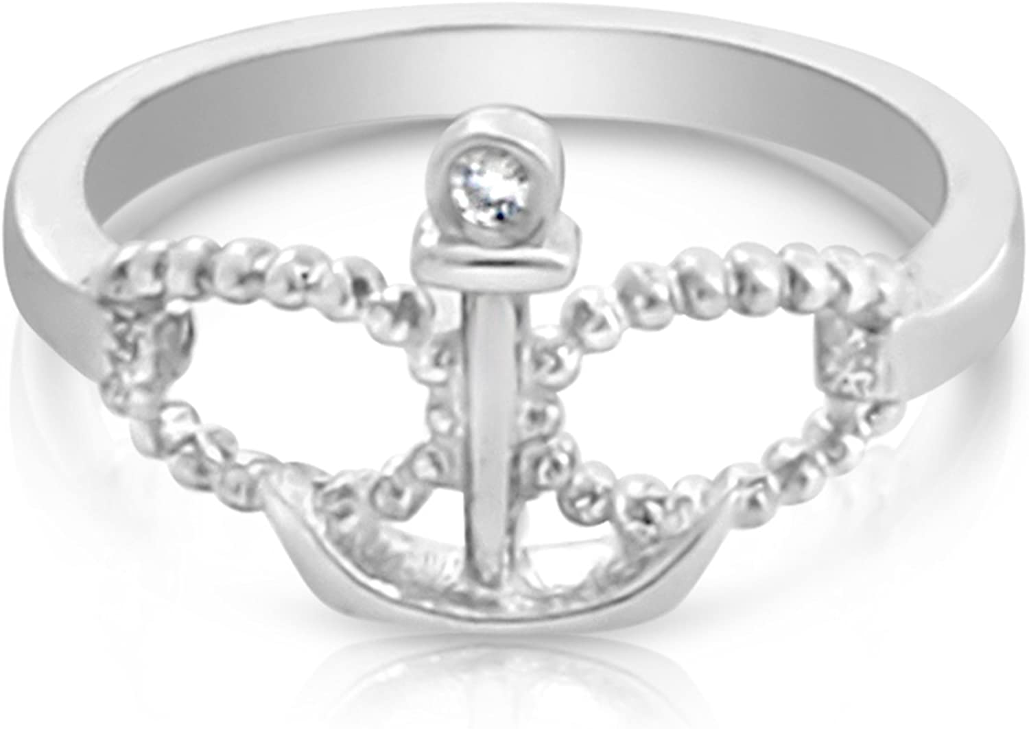 Azaggi Sterling Silver Handcrafted Infinity and Anchor with Diamond Ring