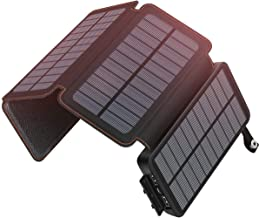 ADDTOP Solar Charger 25000mAh Waterproof Power Bank with 4 Solar Panels Portable Battery Pack for iPhone, iPad, Samsung an...