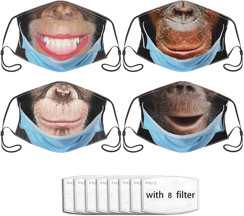 Cute Animal Monkey 4pcs Face Mask Adjustable Reusablefor Unisex Bandana Dustproof Fashion Scarf (With 8 Filters)