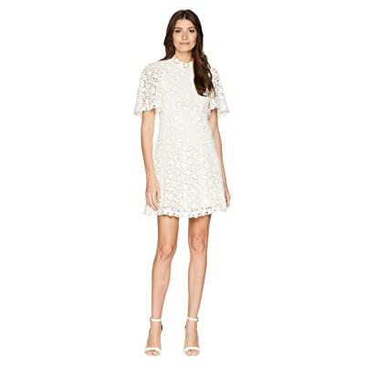Rebecca Taylor Short Sleeve Floral Lace Dress (Snow) Women