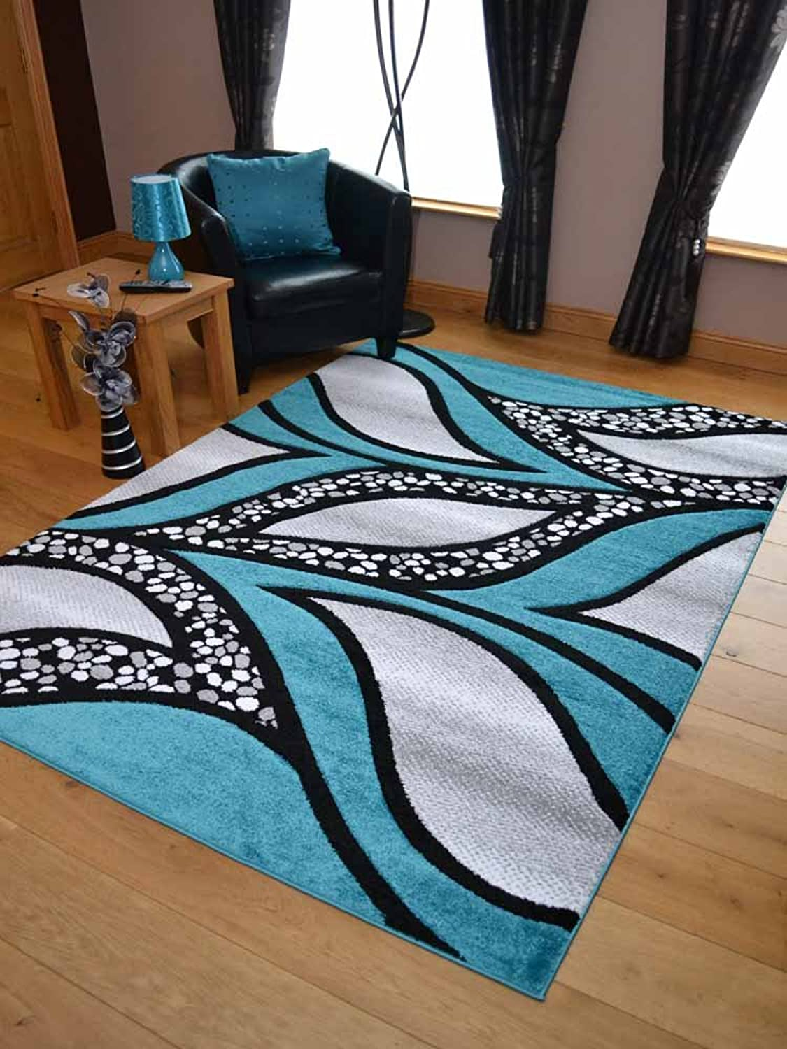 Super Verso Teal bluee Modern Hand Carved Dense Rug. Available in 6 sizes (120cm x 170cm)