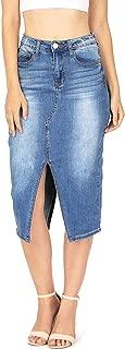 Women's Juniors Stretchy High Waist Double Split Midi Skirt