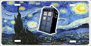 ATD Van Gogh Starry Night Dr Who Tardis Personalized Customized Novelty Front License Plate Decorative Vanity car tag