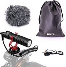 BOYA BY-MM1 Shotgun Video Microphone with Shock Mount, Deadcat Windscreen, Case compatible with iPhone/Andoid Smartphones, Canon EOS/Nikon DSLR Cameras Camcorders for Live Streaming Audio Recording