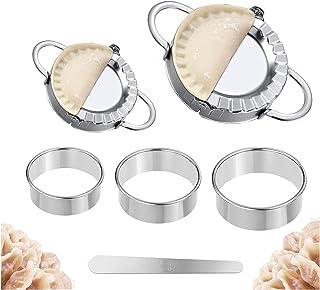 Dumplings Maker, 2pcs Stainless Steel Dumpling Mold and 3pcs Dough Ravioli Skin Press Cutter, 1pcs Stuffing Spoon-Empanada...