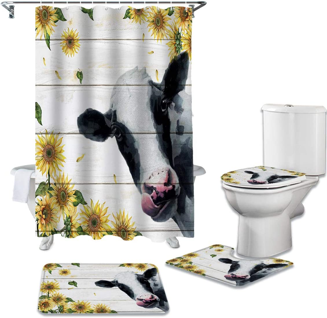 ZL New arrival Home 4 Piece Bathroom Set Animal Waterproof Country Show Cow Selling and selling