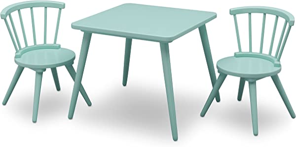 Delta Children Windsor Kids Wood Chair Set And Table 2 Chairs Included Aqua
