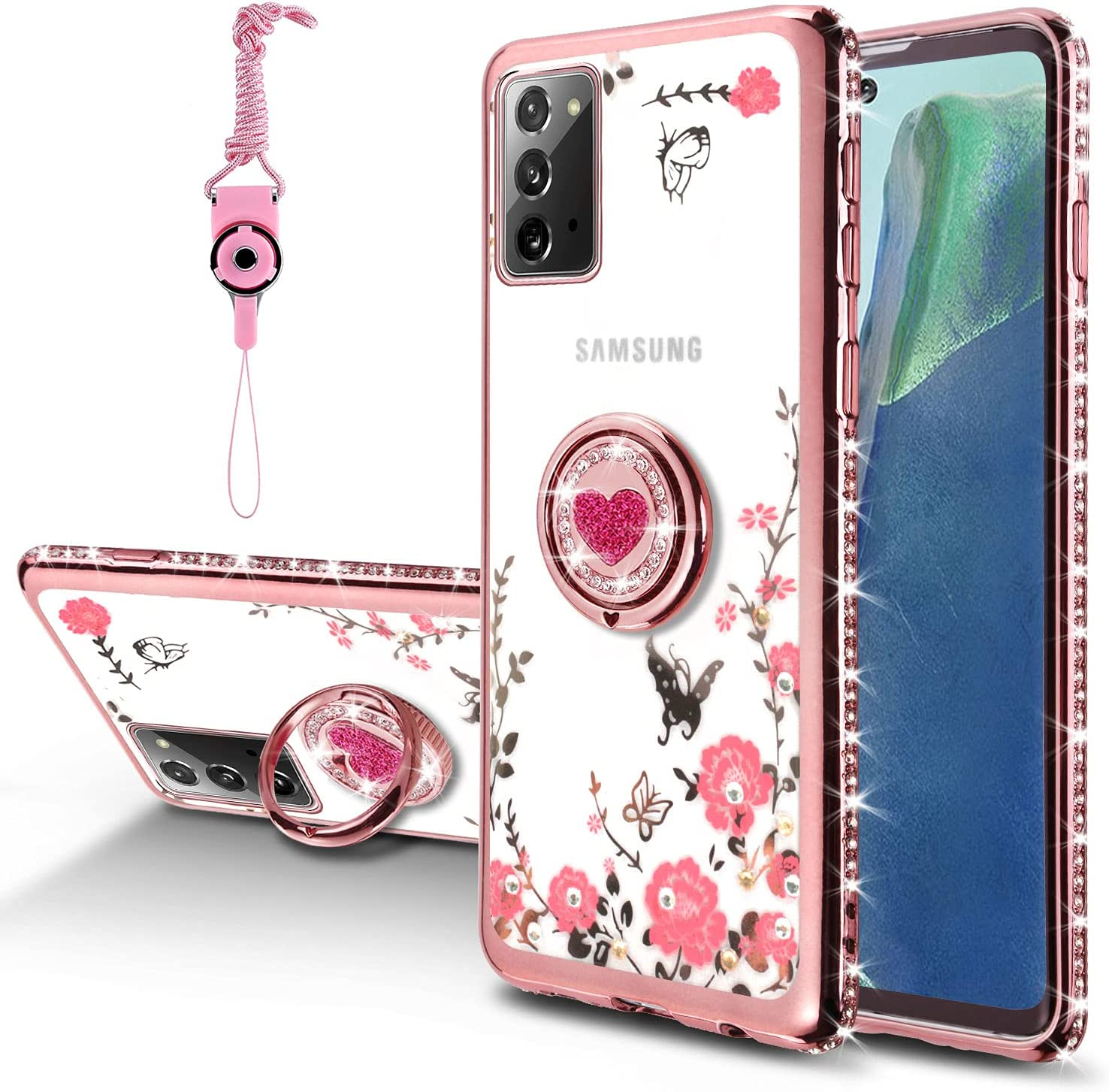 DHIMI for Samsung Galaxy Note 20 Case, Glitter Sparkly Diamond Floral Butterfly Ultra-Slim TPU with Metal Ring Stand Bumper Silicon TPU Protective Phone Case for Galaxy Note 20 (Rose Gold)