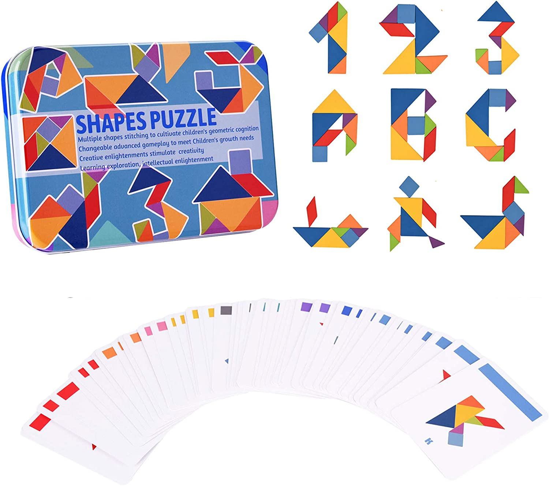 Wooden Montessori Puzzle Blocks Colorful Tangrams and Sorting Regular High material discount St