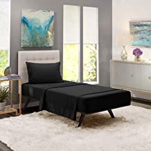 iBed Home Solid Bedsheets 2 Pieces Bedding Set, FLTSNGL3, Cotton/Polyester, Single, Black, 160x240cm