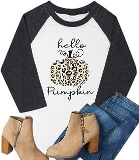 Halloween Pumpkin Shirt Womens Hello Pumpkin Graphic T Shirt Fall Casual Raglan 3/4 Sleeve Baseball Tops