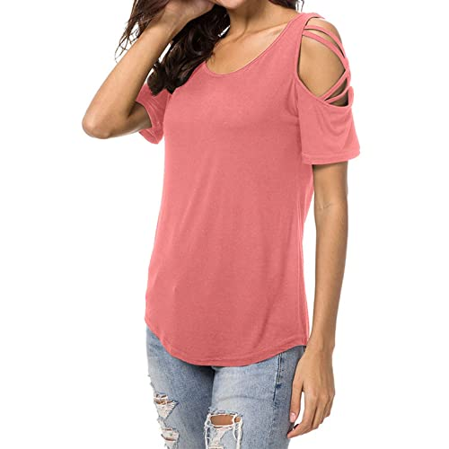 f50a654d22670 Aiveve Women s Short Sleeve Casual Cold Shoulder Tunic Tops Blouse T-Shirts