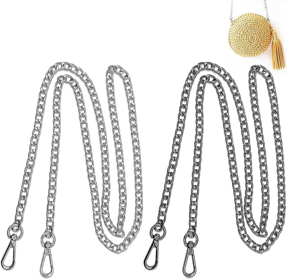 Esteopt 2 Stücke Taschenkette Tasche Kette Metall Schultergurt mit 2 Metallschnallen für Tasche Handtasche Damen Umhängetasche (Schwarz,K Gold)