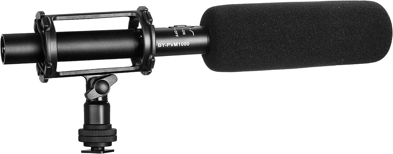 BOYA BY-PVM1000-Micrófono de condensador para entrevista (calidad de emisióncon protector de espuma y soporte de choque3 pinessalida XLR para cámaras Canon 6D5D3Nikon D800DSLR Sony A9Panasonic