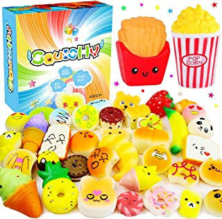 Lamiza 42 PCS Squishies Pack - Slow Rising Squeeze Scented Stress Reliever Toys for Girls and Boys Jumbo Mini Random Mochi Squishy Kawaii Animals Popcorn Donuts Panda Bread Cake Fruits