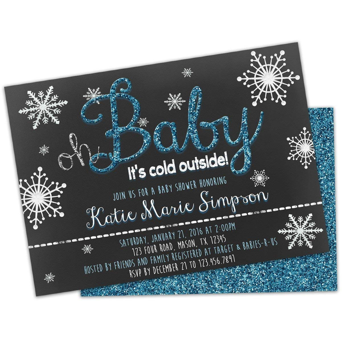 Colorado List price Springs Mall Oh Baby Cold Outside Shower Glitter Boy Blue Invitations