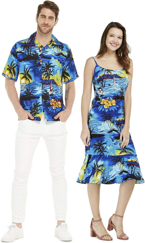 Couple Matching Hawaiian Luau Shirt Mermaid Dress Sunset Blue