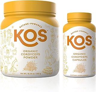 KOS Organic Cordyceps Powder + Organic Cordyceps Capsules Bundle