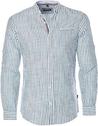 CARISMA Camisa de hombre de lino azul y blanco a rayas ...