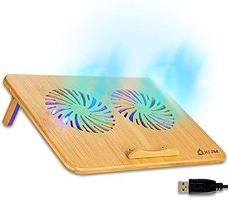 KLIM Bamboo - Refroidisseur PC Portable - Vitesse réglable - Support ventilé avec Structure en Bambou pour Ordinateur 10' ...