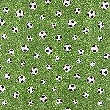 Dekostoff Canvas Ottoman Fußballstoff Gras grün schwarz