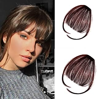 Clip in Air Bangs Remy Human Hair Extensions One Piece Front Neat Air Fringe Hand Tied Straight Flat Bangs Clip on Hairpiece for Women Dark Brown