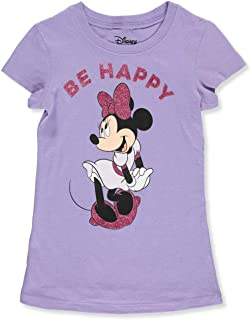 Girls T-Shirt Minnie or Mickey Mouse Print Glitter Graphic