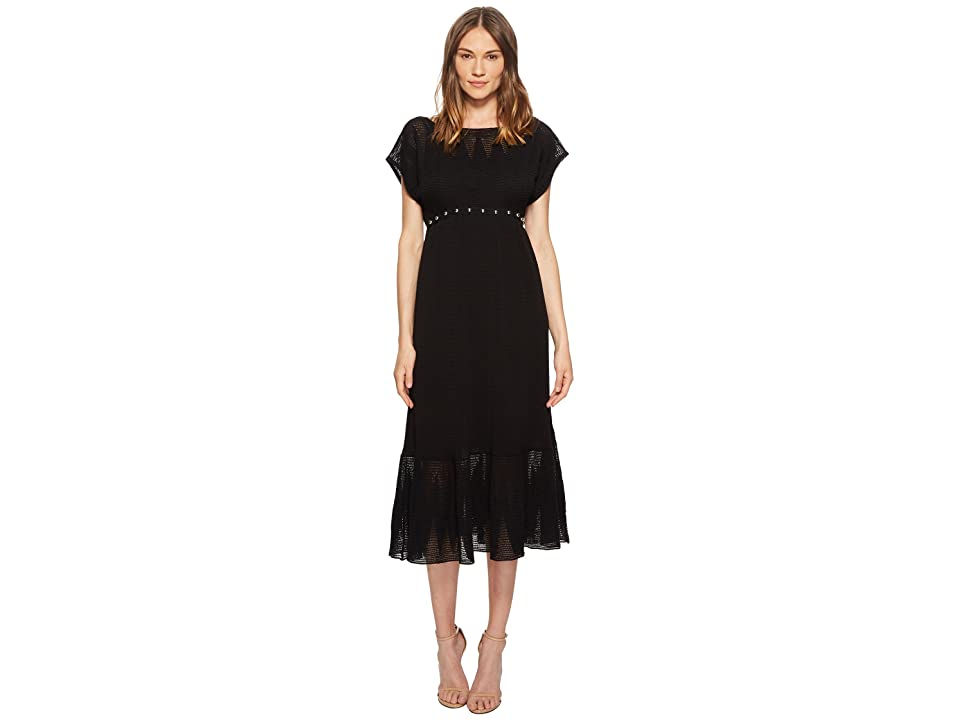 RED VALENTINO Zagana Embroidery Knit Dress with Boules (Nero) Women