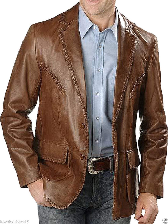 New Fashion Style Men's Classic Leather Blazer Lambskin Sport Coat Jacket Leather Slim Fit Casual Blazer Jacket (Brown)