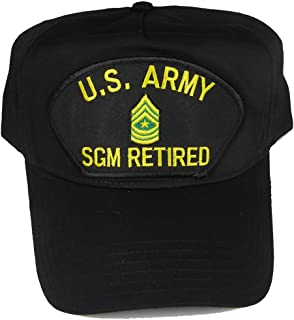 U S ARMY SGM RETIRED with SERGEANT MAJOR RANK INSIGNIA HAT - Black - Veteran Owned Business