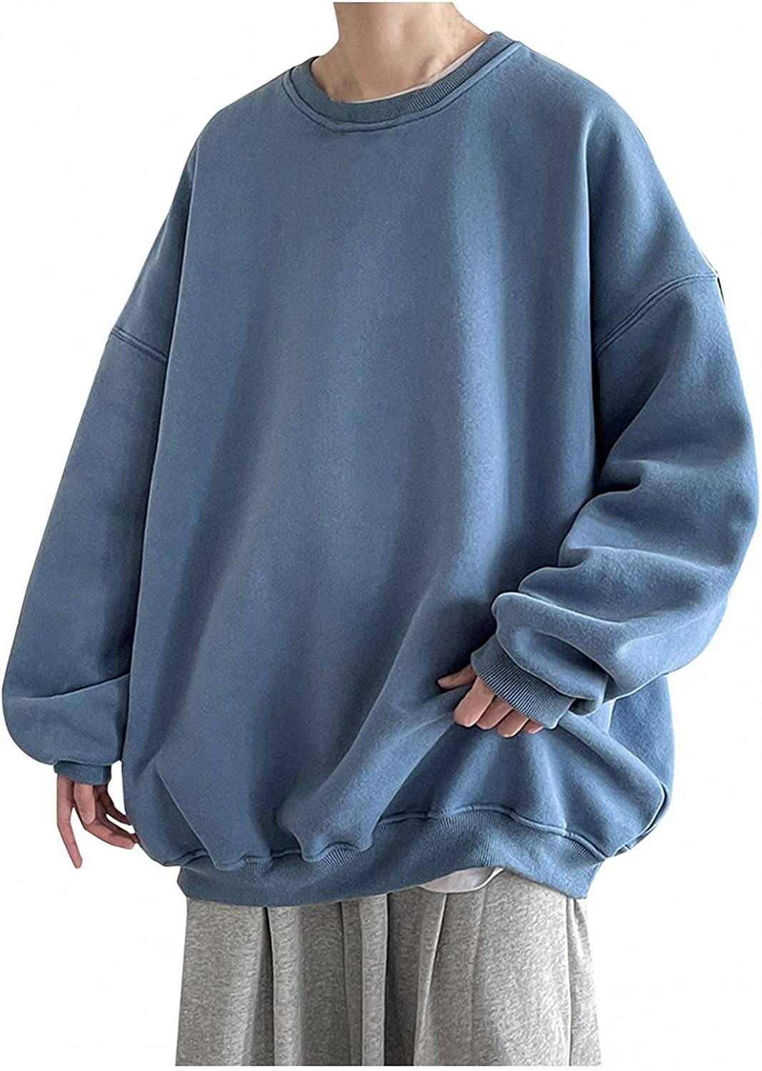 WUAI-Men Crewneck Sweatshirt Fashion Hipster Workout Loose Oversized Pullover Sweaters Thermal Tops Big and Tall